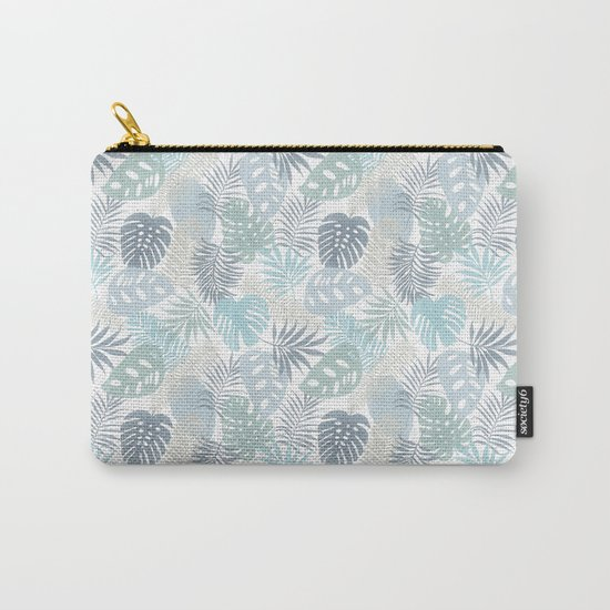 Tropical Leaves Pattern Blue Carry-All Pouch