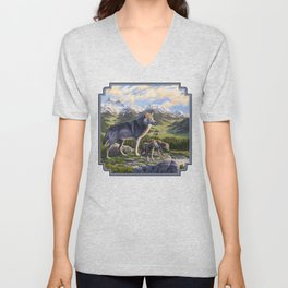Mother Gray Wolf and Pups River Valley Unisex V-Neck