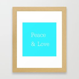 Peace & Love Aqua Framed Art Print