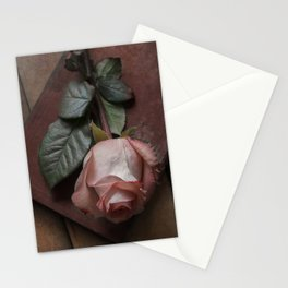 Pink rose and red old book Stationery Cards