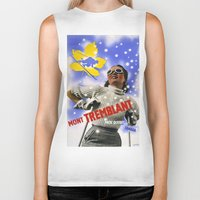 skiing Biker Tanks featuring CANADA/winter sports-skiing/vintage by Kathead Tarot/David Rivera