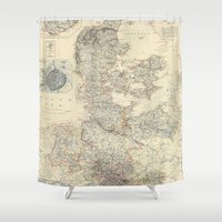denmark Shower Curtains featuring Vintage Map of Denmark (1862) by BravuraMedia