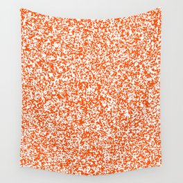 Tiny Spots - White and Dark Orange Wall Tapestry