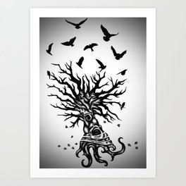 under dry roots. Art Print