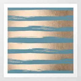 Painted Stripes Gold Tropical Ocean Blue Art Print