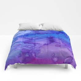 Blue purple pink hand painted watercolor pattern Comforters
