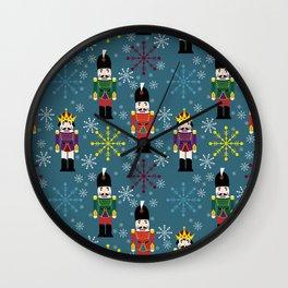 Snowy Royal Nutcrackers Wall Clock