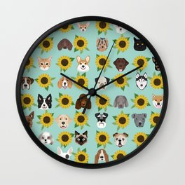 Dogs and cats pet friendly sunflowers animal lover gifts dog breeds cat person Wall Clock