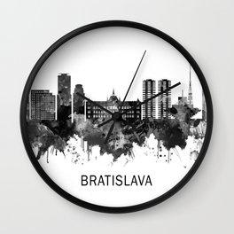 Bratislava Slovakia Skyline BW Wall Clock