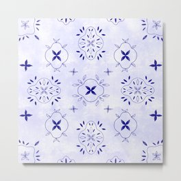 French linen// French bloom, bloom pattern, French pattern, blue pattern Metal Print