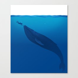 The Whale and a Human Canvas Print