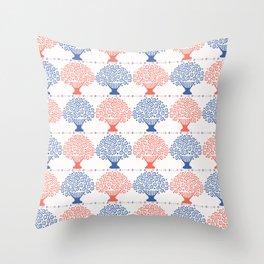 Stylized Flower Basket Seamless Pattern Throw Pillow