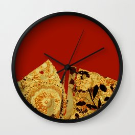 torn golden floral on red Wall Clock