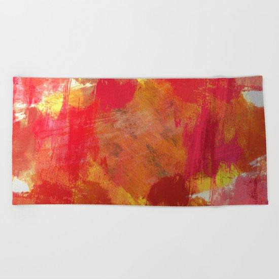 Fight Fire With Fire - Textured Metallic Abstract in red, white, black, orange and yellow Beach Towel