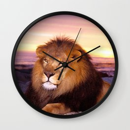 Phenomenal Noble Huge Male African Lion Relaxing On Beach At Sunset Close Up Ultra HD Wall Clock