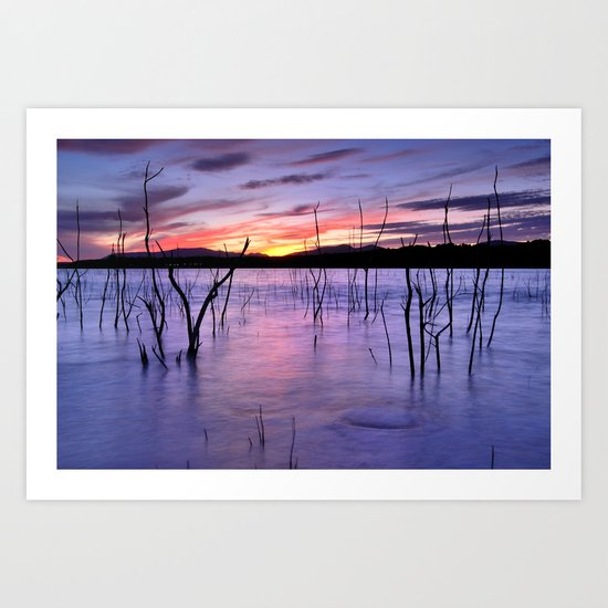Purple sunset at the lake Art Print