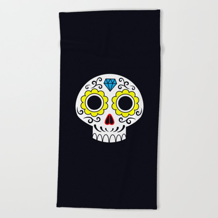 Sugar skull for a cake Beach Towel