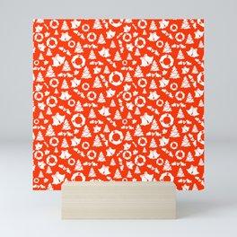 Red Christmas Pattern Mini Art Print