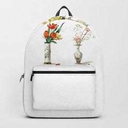 Four Vintage Vases Filled With Flowers Backpack