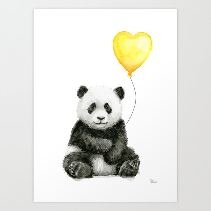 Panda with Yellow Balloon Baby Animal Watercolor Nursery Art Kunstdrucke