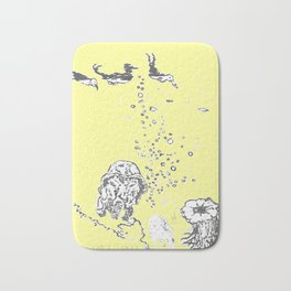 Two Tailed Duck and Jellyfish Baby Yellow Bath Mat