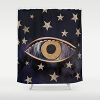 third eye Shower Curtains featuring Open your third eye by Nikkistrange
