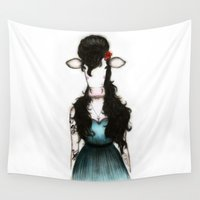 amy hamilton Wall Tapestries featuring Amy by J. Neto