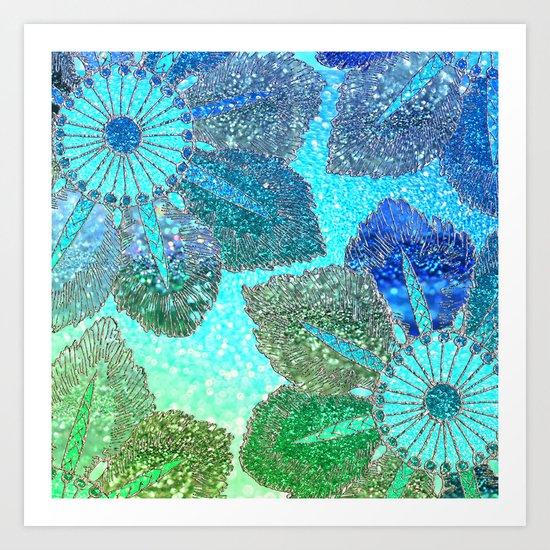 Aqua Green and Blue Glitter Flowers on #Society6 Art Print