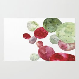 Watercolor cactus bunch in red and green Rug