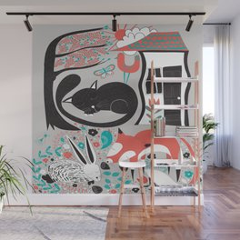 Sleepy Forest Creatures Wall Mural