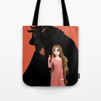beauty and the beast Tote Bags featuring Beauty and the Beast by Courtney Godbey