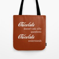 chocolate Tote Bags featuring Chocolate by DuniStudioDesign