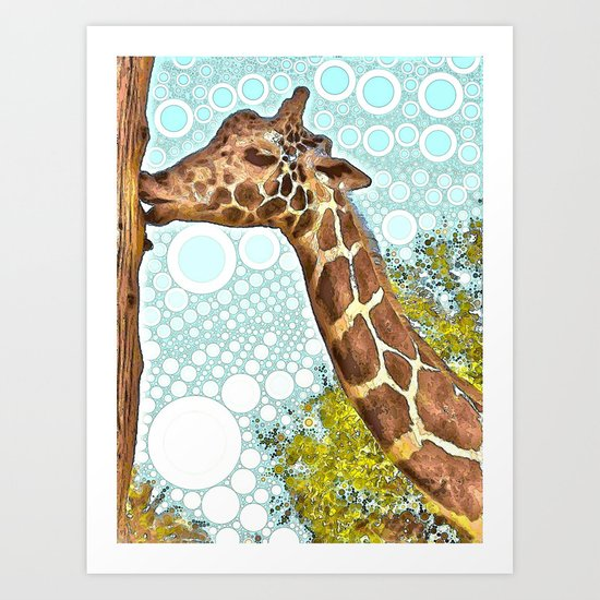 Giraffe Kiss Art Print