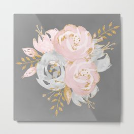 Night Rose Garden Gray Metal Print