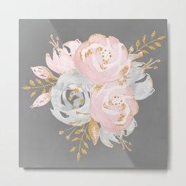 Night Rose Garden Gray Metal Print
