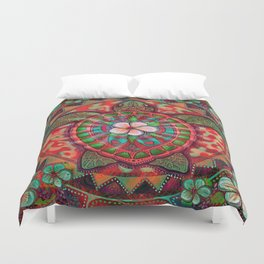 Neon Turtle by Julie Oakes Duvet Cover