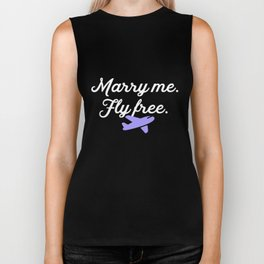 Marry Me Fly Free Airplane Flight Attendant Plane Biker Tank