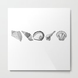 Seashell Doodle Art in Black and White Metal Print