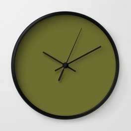 Mustard Green - solid color Wall Clock
