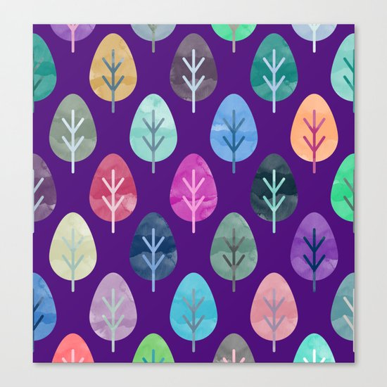 Watercolor Forest Pattern II Canvas Print