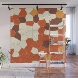 Hexagon Abstract Orange_Cream Wall Mural