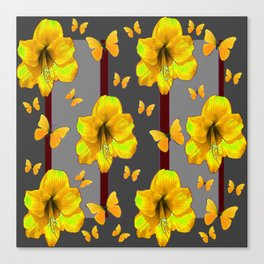 """AMARYLLIS """"FOR THE LOVE OF BUTTERFLIES"""" GREY ART Canvas Print"""