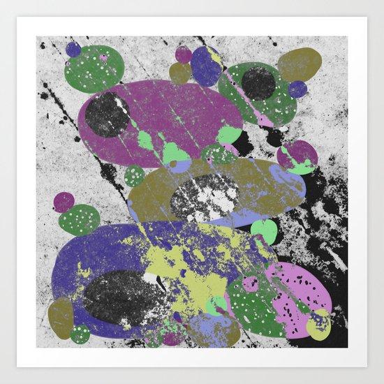 Stack Em Up! - Abstract, textured, pastel coloured artwork Art Print