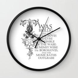 Alice In Wonderland Jabberwocky Poem Wall Clock