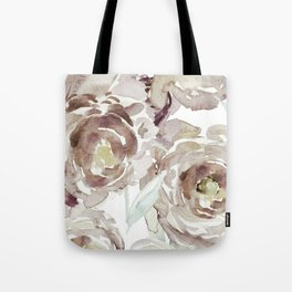 Earthy Painterly Floral Abstract Tote Bag