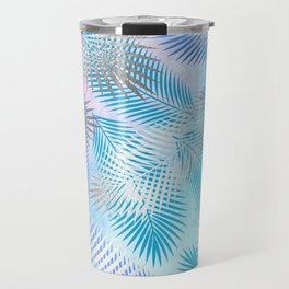 Watercolor and Silver Feathers on Watercolor Background Travel Mug