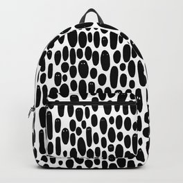Black and White Creepy Cute Ghosts Pattern Backpack