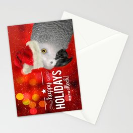 From the Flock Christmas African Gray Parrot Stationery Cards