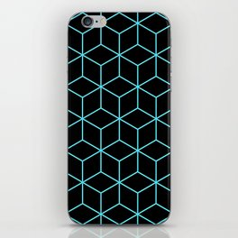 3-D Cube Pattern (Aqua on Black) iPhone Skin