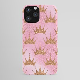Princess Glitter Gold Crowns on Lollipop Pink iPhone Case